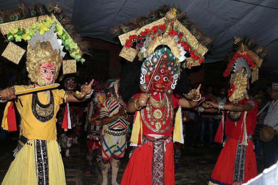 भक्तपुरमा महाकाली नाच प्रदर्शन गरिँदै