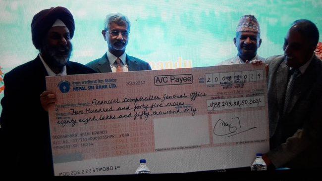 पुनःनिर्माणका लागि भारतले नेपाललाई दियो २ अर्ब ४५ करोड