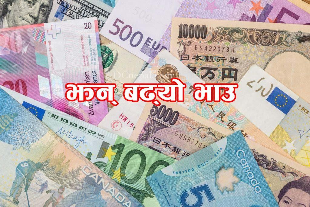 आज अमेरिकी डलरसहित यी ८ देशका मुद्राको भाउ बढ्यो