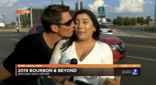 लाइभ टिभीमा महिला रिपोर्टरलाई किस गरिदिएपछि…