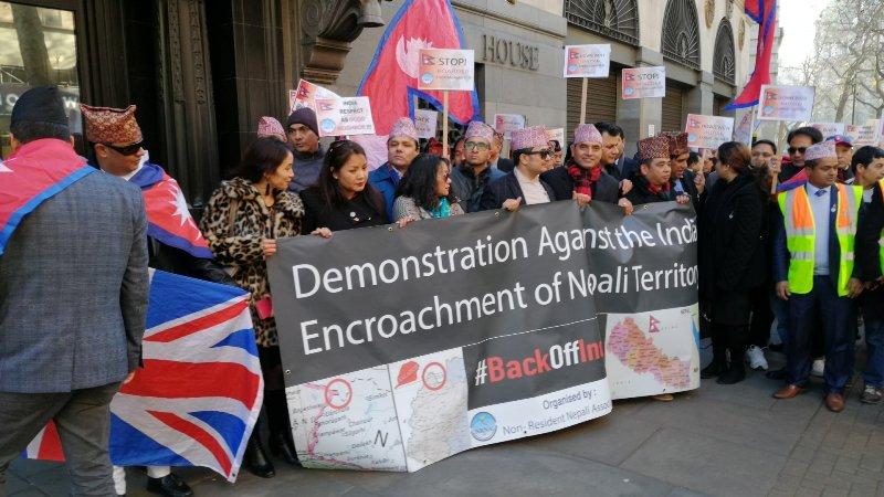 गैरआवासीय नेपालीद्वारा बेलायतमा भारतविरुद्ध प्रदर्शन