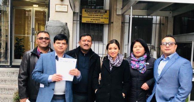 अमेरिकाको डिसी स्थित भारतीय राजदुतावासमा एनआरएनएको बिरोध पत्र पेश