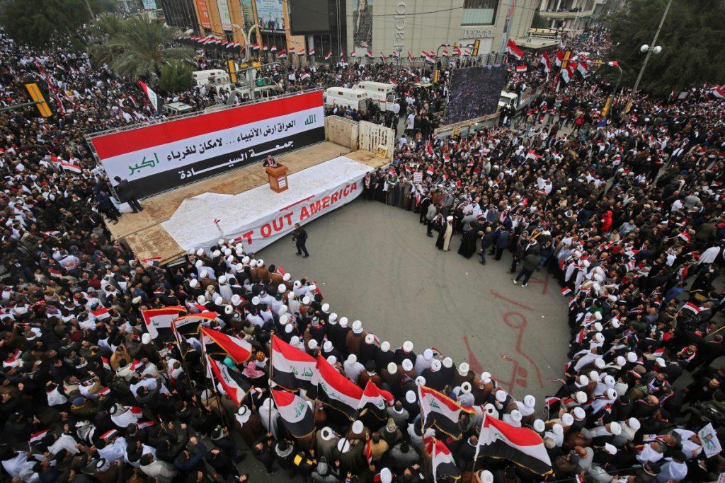 अमेरिकी सेनालाई फिर्ता गर्न माग गर्दै इराकमा प्रदर्शन