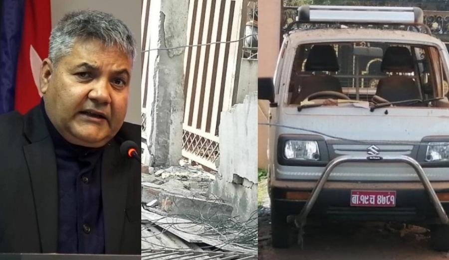 पूर्व संचारमन्त्री गोकुल बाँस्कोटाको घरमा बम बिष्फोट