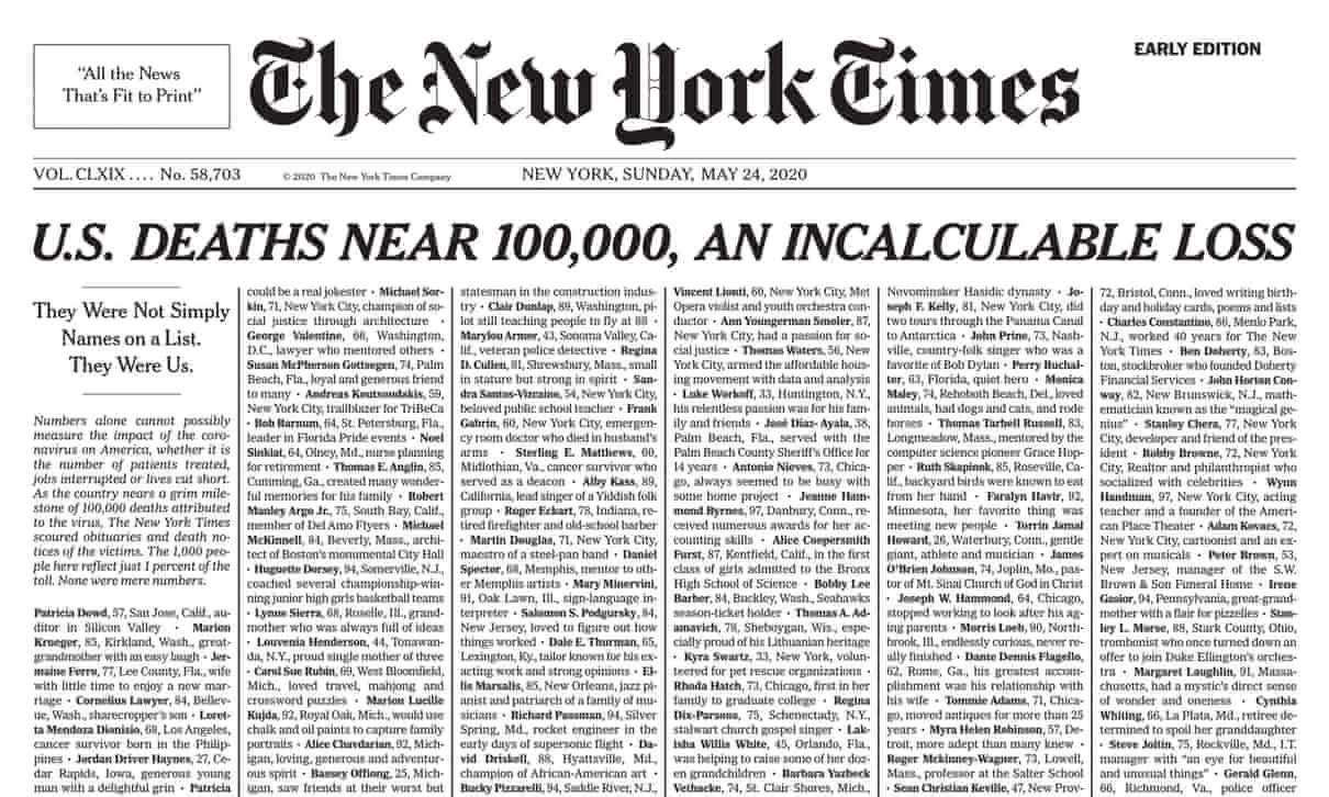 कोरोनाभाइरसः मृतकहरुप्रति न्यूयोर्क टाइम्सको विशेष श्रद्धाञ्जली, प्रथम पृष्ठमा हजार जनाको नाम