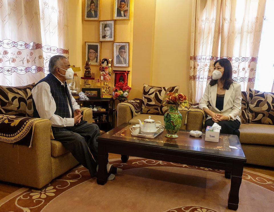 काँग्रेस वरिष्ठ नेता पौडेलसँग चिनियाँ राजदूतको भेट