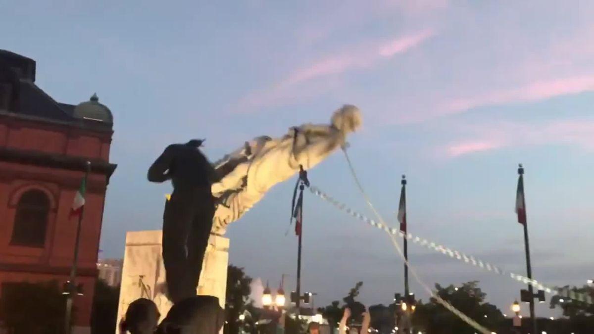 बाल्टिमोरमा कोलम्बसको स्मारक तोडफोड
