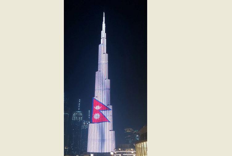 बुर्ज खलिफामा नेपाली राष्ट्रिय झण्डा झलमल