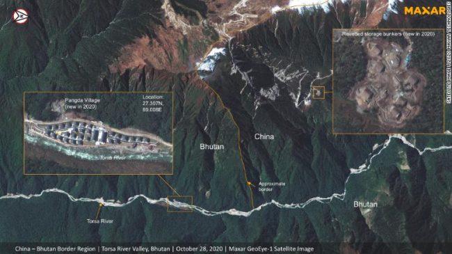 स्याटेलाइट तस्वीरमा देखियो चीन, भारत र भुटानको त्रिदेशीय सीमा क्षेत्रमा चीनले गरेको निर्माण