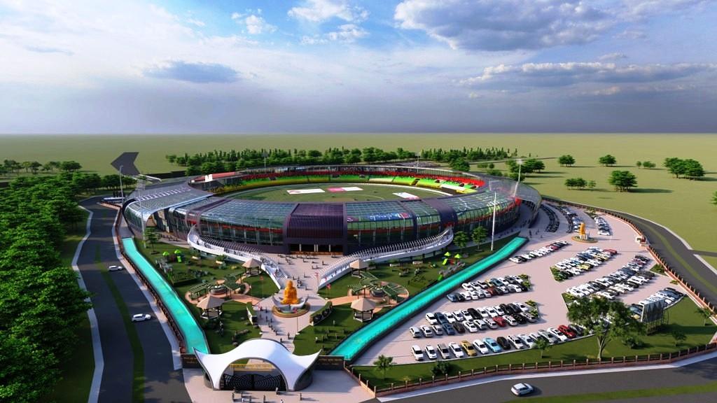 सैनामैनामा निर्माणाधीन क्रिकेट रङ्गशालाको अवलोकन