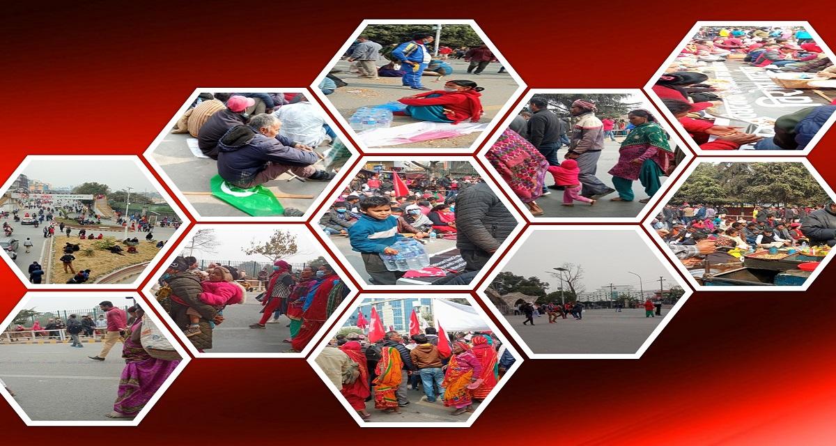 नेकपा (प्रचण्ड-नेपाल) समूहको शक्ति प्रदर्शन : कोही भोकै, कोही खाली खुट्टा