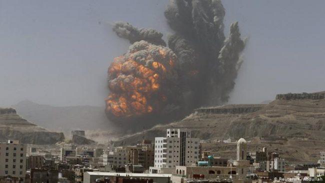 साउदी नेतृत्वको गठबन्धनद्वारा यमनमा हवाई आक्रमण