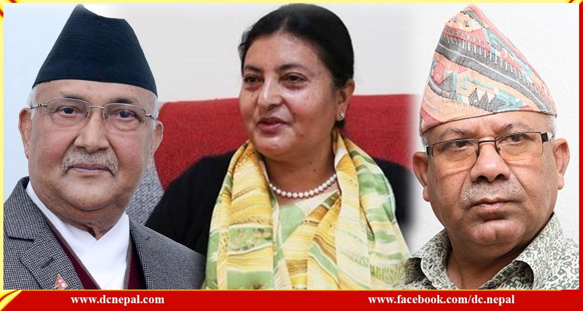 राष्ट्रपतिलाई साक्षी राखेर केपी ओली र माधव नेपालबीच सहमति