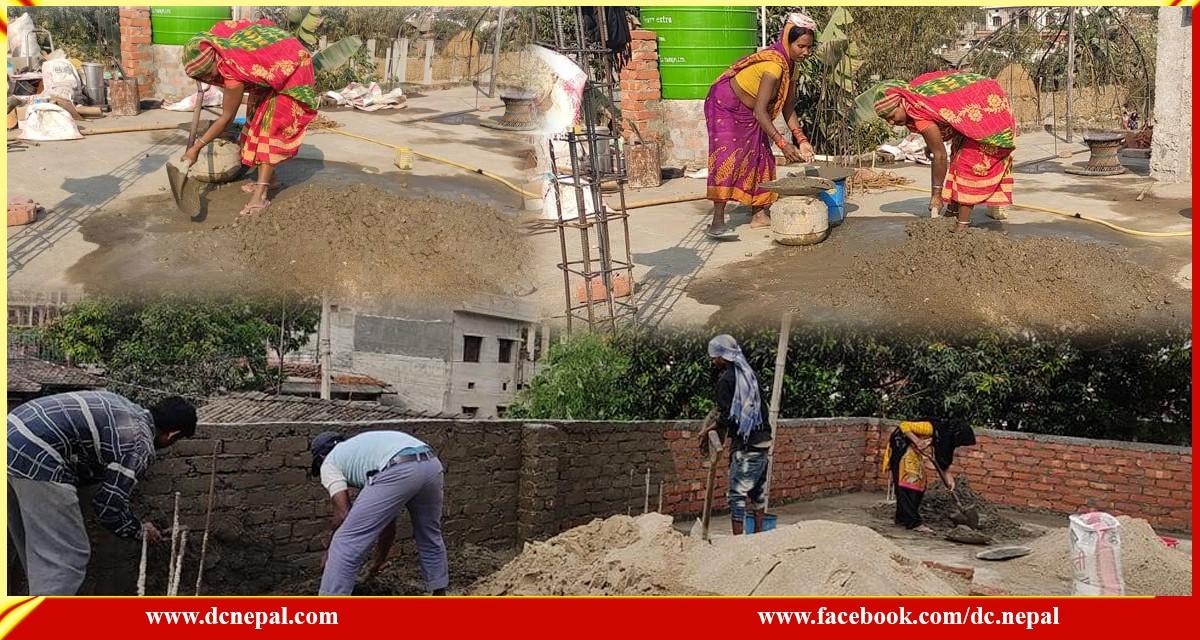 निर्माण कार्यको मजदुरीमा मधेसी महिलाको अग्रसरता