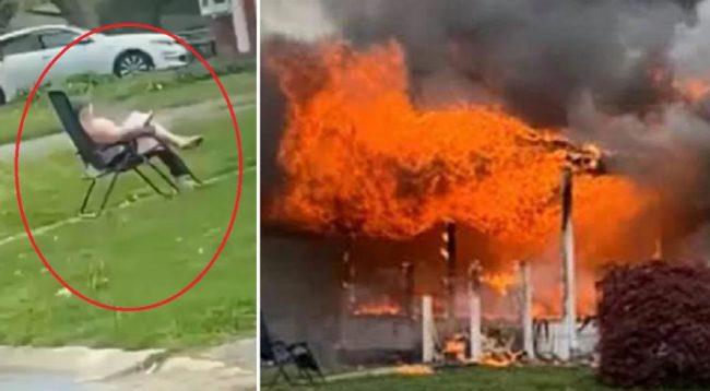 महिलाले आफ्नै घरमा आगो लगाइन्, आँगनमा कुर्सीमा बसेर आगो दन्किएको हेरिरहिन्