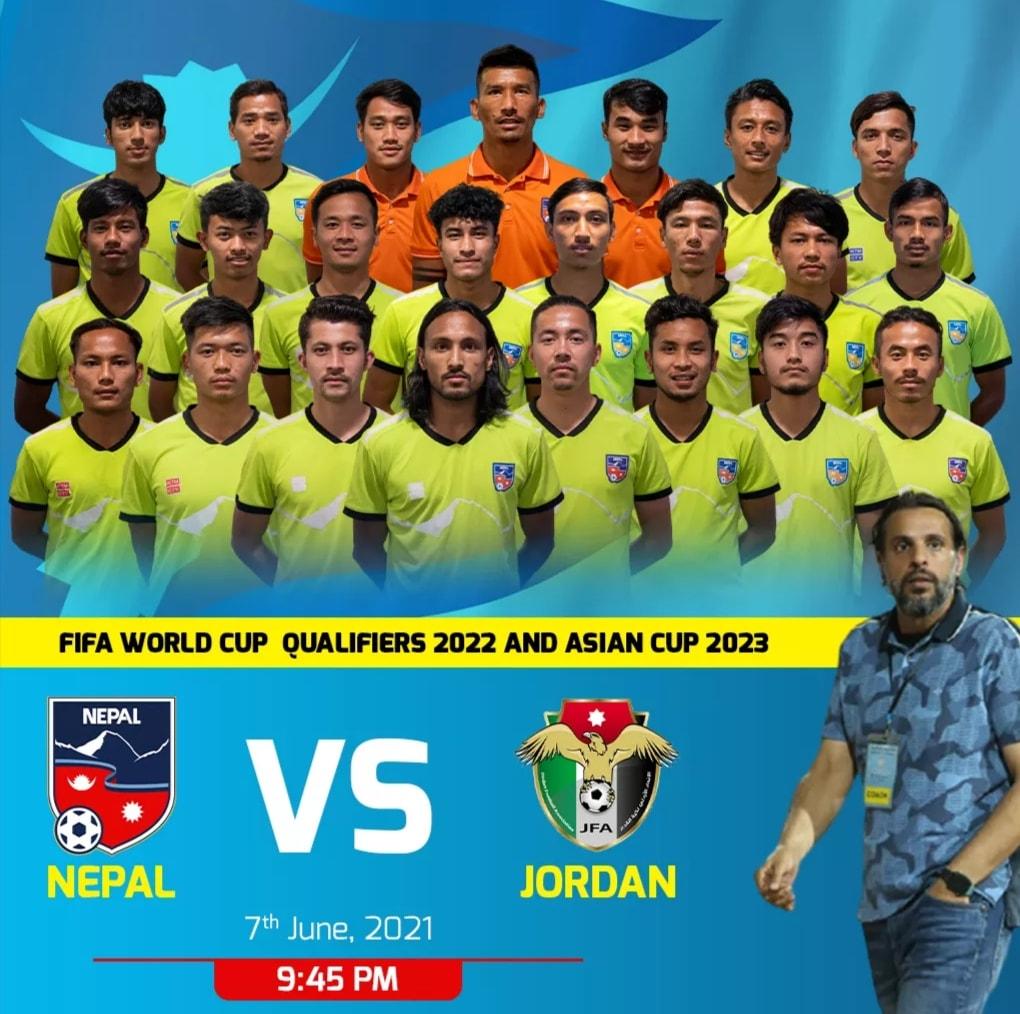 नेपाल भर्सेस जोर्डनः पहिलो हाफमा नेपाल ०–१ ले पाछाडि