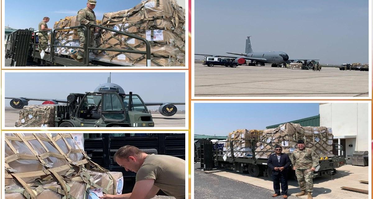 अमेरिकी सेनाको जहाजमा एनआरएनए अमेरिकाको सामग्री नेपाल पठाइयो