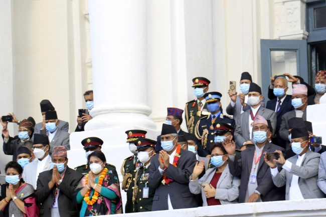 इन्द्रजात्रा हेर्न राष्ट्रपति र प्रधानमन्त्री वसन्तपुरमा (फोटेफिचर)